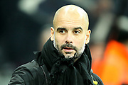 Manchester City manager Pep Guardiola during the Premier League match between Newcastle United and Manchester City at St. James's Park, Newcastle, England on 27 December 2017. Photo by Craig Doyle.