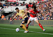 Nottingham Forest forward Gil Dias (31) and Middlesbrough defender George Friend (3)  during the EFL Sky Bet Championship match between Middlesbrough and Nottingham Forest at the Riverside Stadium, Middlesbrough, England on 6 October 2018.