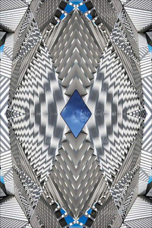 Photographic series of digital computer art from an image of shadows patterns and shapes from the sun directly above on the white canopy lattice sculpture.<br /> <br /> Two or more layers were used to enhance, alter, manipulate the image, creating an abstract surrealistic mirrored