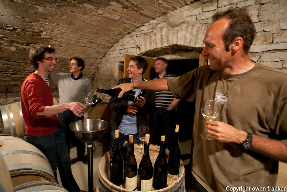 wine téasting in the cellars of Pierre-Yves Colin-Morey, in Chassagne-Puligny, Burgundy