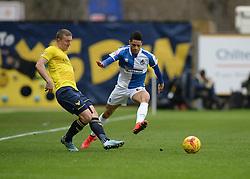 Daniel Leadbitter of Bristol Rovers puts pressure on Joe Skarz of Oxford United - Mandatory byline: Alex James/JMP - 17/01/2016 - FOOTBALL - The Kassam Stadium - Oxford, England - Oxford United v Bristol Rovers - Sky Bet League Two
