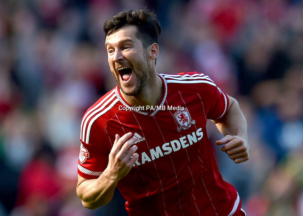 Middlesbrough's David Nugent celebrates scoring his side's first goal of the game during the Sky Bet Championship match at the Riverside Stadium, Middlesbrough.