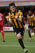 Louis Doods puts Port Vale 2 nil up during the Sky Bet League 1 match between Crawley Town and Port Vale at Broadfield Stadium, Crawley, England on 20 December 2014. Photo by Stuart Butcher.