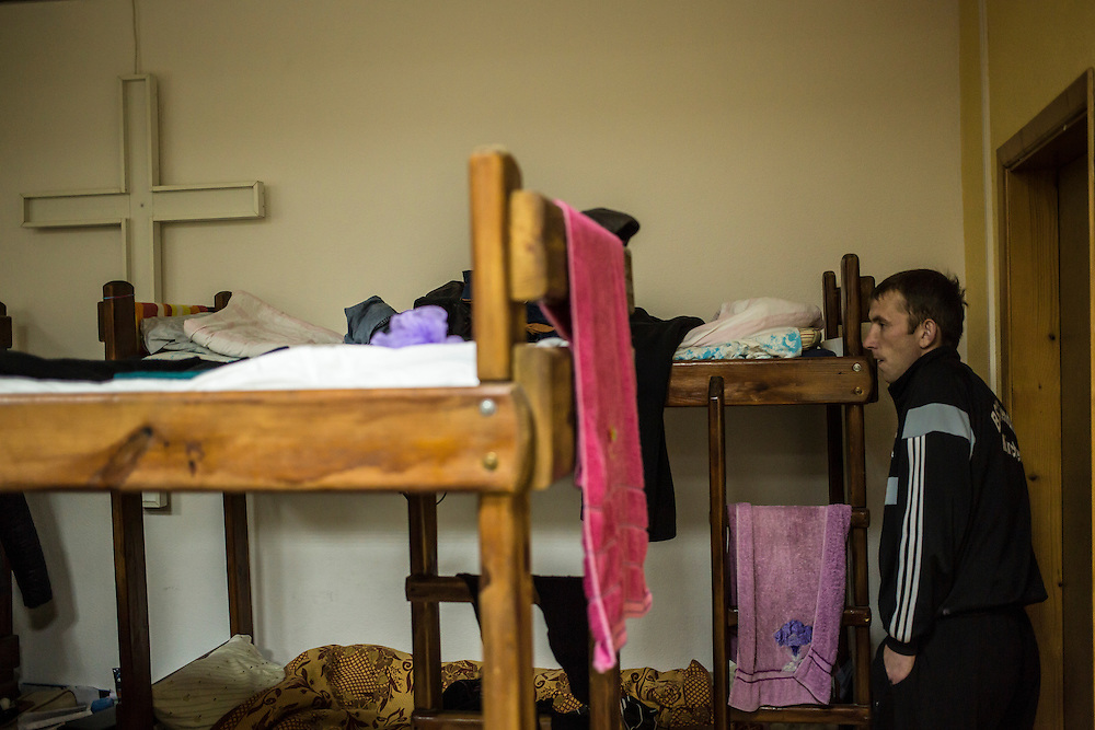 One of the ten internally displaced people from Donetsk being housed by a local protestant organization on Tuesday, October 14, 2014 in Berdyansk, Ukraine. Photo by Brendan Hoffman, Freelance
