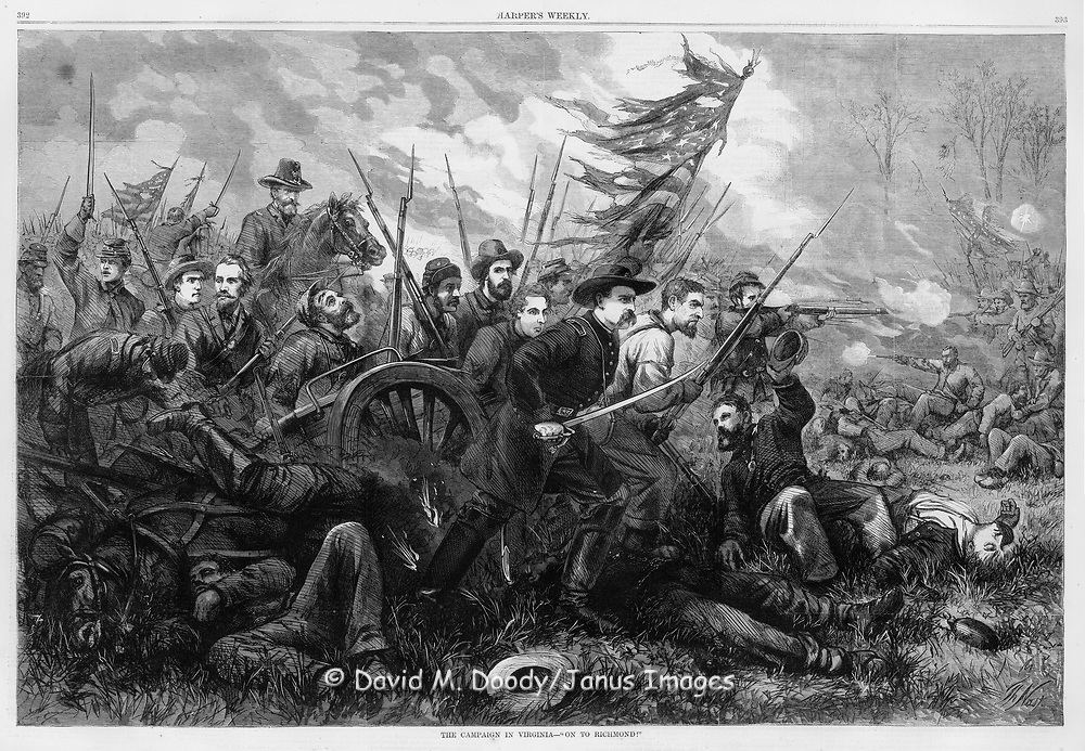 "Dramatic battle scene of Union Army soldiers charging past dead and wounded comrades with tattered battle flag flying, swords and rifles at the ready. Civil War Harper's Weekly, 1864 The Campaign in Virginia ""On to Richmond"" by famous illustrator Thomas Nast.  Vintage illustration, 1864"