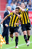 Onderwerp/Subject: Vitesse - Eredivisie<br /> Reklame:  <br /> Club/Team/Country: <br /> Seizoen/Season: 2012<br /> FOTO/PHOTO: JONATHAN ( Jonathan REIS ) (L) of Vitesse celebrating his first goal with Guram KASHIA (R) of Vitesse ( 0 - 1 ). (Photo by PICS UNITED)<br /> <br /> Trefwoorden/Keywords: <br /> #02 $94 ±1341400688360<br /> Photo- & Copyrights © PICS UNITED <br /> P.O. Box 7164 - 5605 BE  EINDHOVEN (THE NETHERLANDS) <br /> Phone +31 (0)40 296 28 00 <br /> Fax +31 (0) 40 248 47 43 <br /> http://www.pics-united.com <br /> e-mail : sales@pics-united.com (If you would like to raise any issues regarding any aspects of products / service of PICS UNITED) or <br /> e-mail : sales@pics-united.com   <br /> <br /> ATTENTIE: <br /> Publicatie ook bij aanbieding door derden is slechts toegestaan na verkregen toestemming van Pics United. <br /> VOLLEDIGE NAAMSVERMELDING IS VERPLICHT! (© PICS UNITED/Naam Fotograaf, zie veld 4 van de bestandsinfo 'credits') <br /> ATTENTION:  <br /> © Pics United. Reproduction/publication of this photo by any parties is only permitted after authorisation is sought and obtained from  PICS UNITED- THE NETHERLANDS