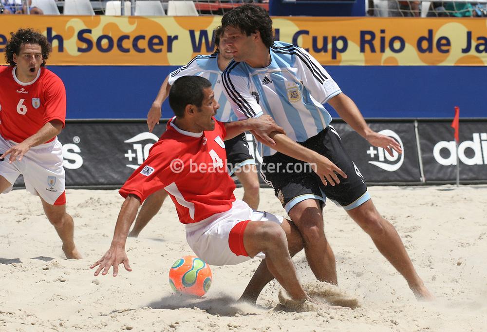 Footbal-FIFA Beach Soccer World Cup 2006 -  Quarter Final-ARG xURU -Minici and Coco -Rio de Janeiro- Brazil - 09/11/2006.<br />Mandatory Credit: FIFA/Ricardo Ayres