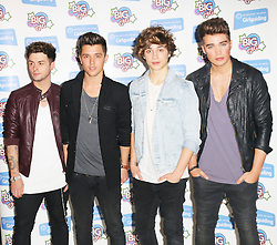 © Licensed to London News Pictures. 12/10/2013, UK. 5 Jaymi Hensley; Jamie Hamblett; George Shelley; Josh Cuthbert; Union J, Girlguiding BIG GIG, Wembley Arena, London UK, 12 October 2013. Photo credit : Richard Goldschmidt/Piqtured/LNP