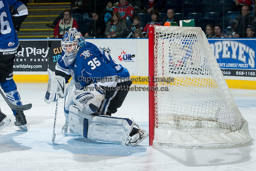 KELOWNA, CANADA -FEBRUARY 8: Coleman Vollrath #35 of the Victoria Royals defends the net against the Kelowna Rockets  on February 8, 2014 at Prospera Place in Kelowna, British Columbia, Canada.   (Photo by Marissa Baecker/Getty Images)  *** Local Caption *** Coleman Vollrath;