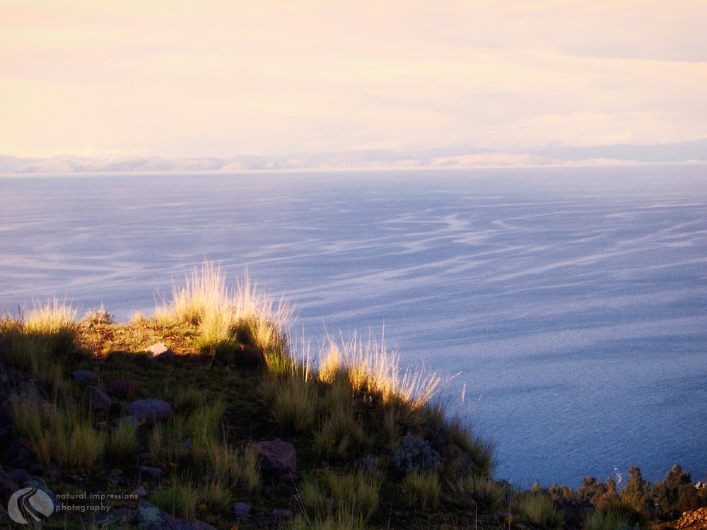 From Amantani Island you can see the two countries Lake Titicaca borders, Bolivia and Peru.