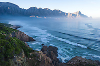 Kogelberg Coastline and mountains with a light mist, Kogelberg, Western Cape, South Africa