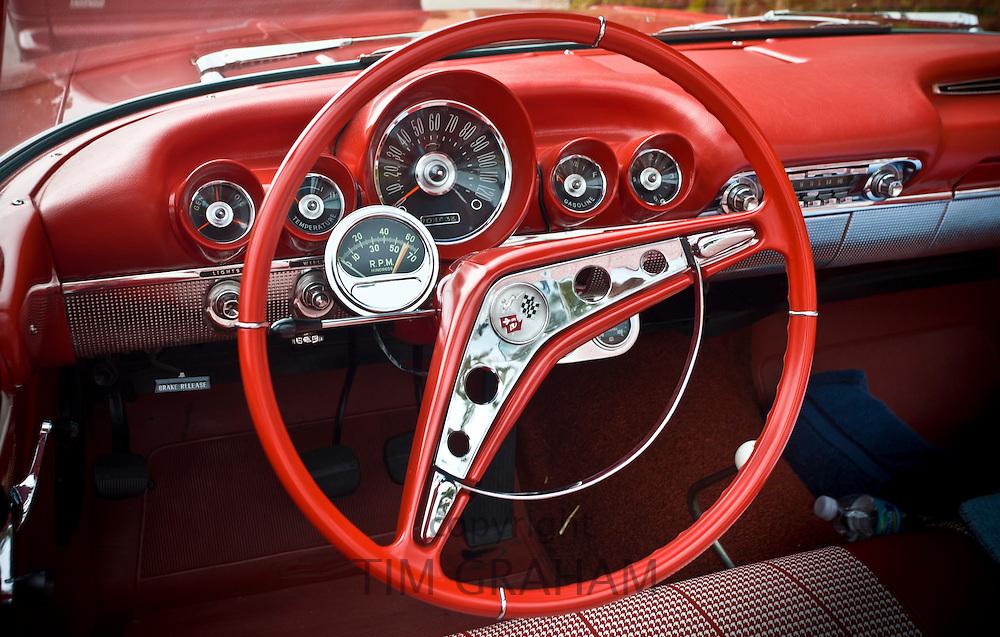 Americana - interior of red Chevrolet Impala drop head automobile in Florida sunshine state, United States of America