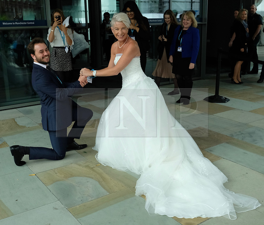 (c) Licensed to London News Pictures. <br /> 02/10/2017<br /> Manchester, UK<br /> <br /> Katy Hopkins wears a wedding dress as she attends the Conservative Party Conference held at the Manchester Central Convention Complex.<br /> <br /> Photo Credit: Ian Forsyth/LNP