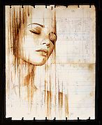 Portraits Painted with Coffee on Century-Old Ledger Paper by Michael Aaron Williams<br /> <br /> Artist Michael Aaron Williams has been working on a beautiful series of portraits painted with coffee on found sheets of used ledger paper that dates back to the 1920s and 30s.<br /> © Michael Aaron Williams/Exclusivepix