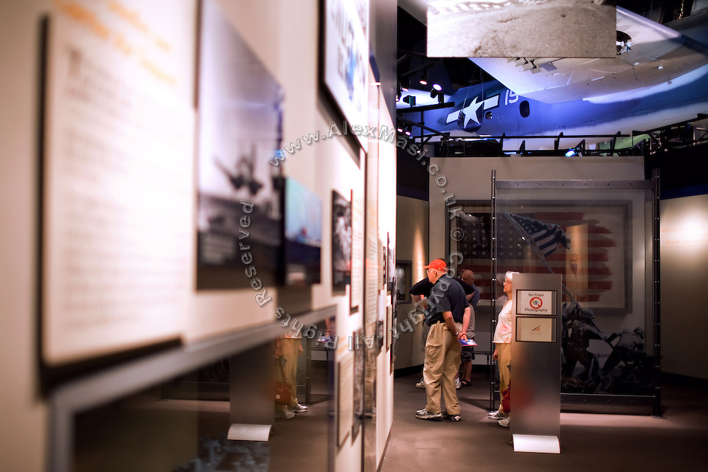 Visitors are exploring the 'National Museum of the Marine Corps' in Quantico, Virginia, USA.