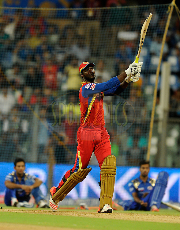 Daren Sammy of Royal Challengers Bangalore bats during the YES BANK Maximum competition after match 46 of the Pepsi IPL 2015 (Indian Premier League) between The Mumbai Indians and The Royal Challengers Bangalore held at the Wankhede Stadium in Mumbai, India on the 10th May 2015.<br /> <br /> Photo by:  Pal Pillai / SPORTZPICS / IPL