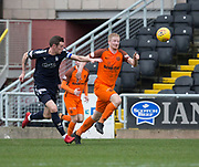 14th April 2018, Tannadice Park, Dundee, Scotland; Scottish Championship football, Dundee United versus Falkirk; Thomas Mikkelsen of Dundee United goes past Aaron Muirhead of Falkirk