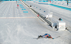 February 25, 2018 - Pyeongchang, South Korea - Jessica Diggins of USA collapses at finish line after finishing in 7th place in the Ladies Cross County Skiing Mass Start 30k at the PyeongChang 2018 Winter Olympic Games at Alpensia Cross-Country Skiing Centre on Sunday February 25, 2018. (Credit Image: © Paul Kitagaki Jr. via ZUMA Wire)