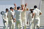 Wicket - Stuart Broad of England celebrates taking the wicket of KL Rahul of India during the 4th day of the 4th SpecSavers International Test Match 2018 match between England and India at the Ageas Bowl, Southampton, United Kingdom on 2 September 2018.
