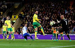 Uwe Hunemeier of Brighton & Hove Albion has a header saved by John Ruddy of Norwich City - Mandatory by-line: Robbie Stephenson/JMP - 21/04/2017 - FOOTBALL - Carrow Road - Norwich, England - Norwich City v Brighton and Hove Albion - Sky Bet Championship