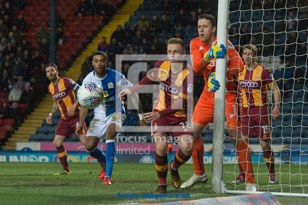 Callum Guy andBradford City goalkeeper Colin Doyle watch as a Blackburn Rovers effort hits the post during the Sky Bet League 1 match at Ewood Park, Blackburn<br /> Picture by Matt Wilkinson/Focus Images Ltd 07814 960751<br /> 29/03/2018