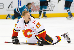 Feb 8, 2012; San Jose, CA, USA; Calgary Flames center Olli Jokinen (13) warms up before the game against the San Jose Sharks at HP Pavilion. Calgary defeated San Jose 4-3. Mandatory Credit: Jason O. Watson-US PRESSWIRE
