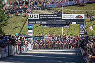The start of the Cross Country Olympics event at the 2018 UCI MTB World Championships - Lenzerheide, Switzerland