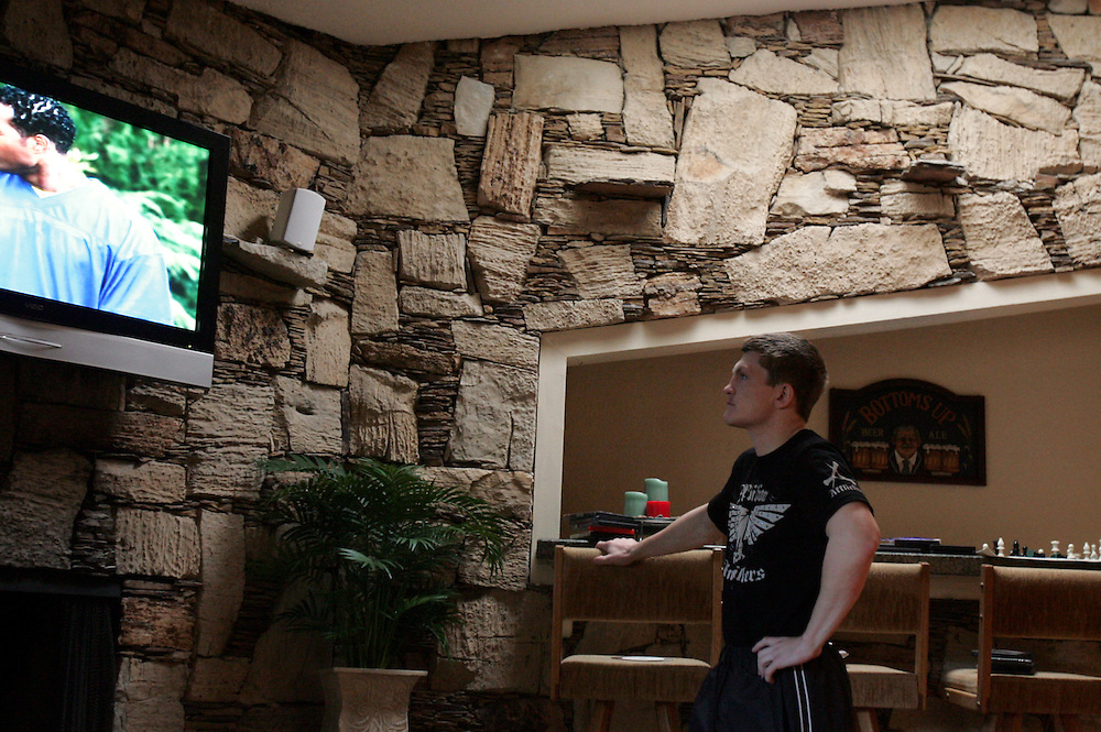 Ricky watches tv on the day of the fight. Ricky Hatton v Floyd Mayweather, Las Vegas, Nevada.