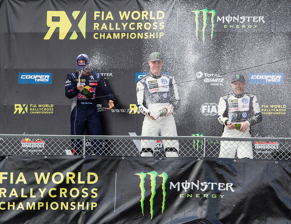 The podium celebrations with Kristoffersson, Hansen and Solberg during WRX 2017 Round Four Race Day at Circuit Jules Tacheny on 14th May 2017