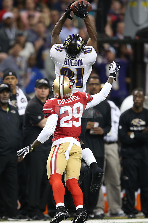 Anquan Boldin (81) of the Baltimore Ravens catches a pass against Chris Culliver (29) of the San Francisco 49ers during the NFL Super Bowl XLVII football game in New Orleans on Feb. 3, 2013. The Ravens won the game, 34-31.  (Photo by Jed Jacobsohn)