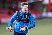 Forest Green Rovers goalkeeper Bradley Collins(1) warming up during the EFL Sky Bet League 2 match between Accrington Stanley and Forest Green Rovers at the Wham Stadium, Accrington, England on 17 March 2018. Picture by Shane Healey.