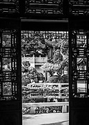 View of the Moon Locking Pavilion from the Hall of Brocade Clouds at the Lan Su Chinese Garden in Portland, Oregon