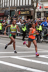 Boston Marathon: winner Caroline Rotich, Kenya, battles Mare Dibaba, Ethiopia in final stretch, prevails by 4 seconds