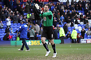 Coventry City's Joe Murphy appreciates the applause from Tranmere Rovers supporters, who he used to play for.  Skybet football league 1match, Tranmere Rovers v Coventry city at Prenton Park in Birkenhead, England on Saturday 22nd Feb 2014.<br /> pic by Chris Stading, Andrew Orchard sports photography.