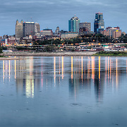 View at dusk of Kansas City Missouri skyline from Kaw Point Park in Kansas City, Kansas.