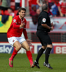 Charlton Athletic's Astrit Ajdarevic screams at Referee Brendan Malone for not awarding Charlton a penalty - Photo mandatory by-line: Robin White/JMP - Tel: Mobile: 07966 386802 18/04/2014 - SPORT - FOOTBALL - The Valley - Charlton - Charlton Athletic v Bolton Wanderers - Sky Bet Championship