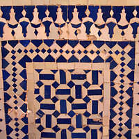 North Africa, Morocco, Fes. Ibn Danan Synagogue tiles in Fes.