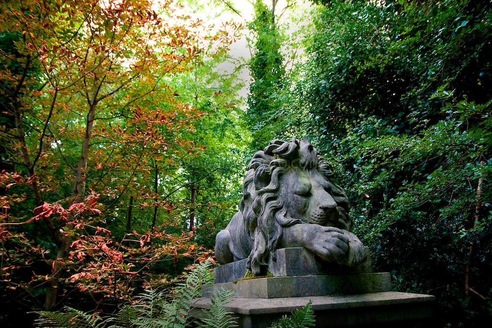 Lion  statue on the tomb of George Wombell, menagrist, Highgate Cemetery
