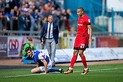 Leyton Orient forward Jordan Bowery (#21) reacts to a tackle on Carlisle United defender Macaulay Gillesphey (#12) during the EFL Sky Bet League 2 match between Carlisle United and Leyton Orient at Brunton Park, Carlisle, England on 10 September 2016. Photo by Craig Doyle.
