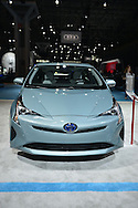 A blue fourth generation 2016 Toyota Prius hybrid is shown at the New York International Auto Show 2016, at the Jacob Javits Center. This was Press Preview Day one of NYIAS, and the Trade Show will be open to the public for ten days, March 25th through April 3rd.