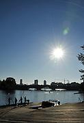 "Boston,  USA  ."" 2012 Head of the Charles"".  ..Description. Sunrise, over Anderson road Bridge  Boston City Scape  Charles River. Cambridge,  Massachusetts,   Thursday  18/10/2012...[Mandatory Credit: Peter Spurrier/Intersport Images]"
