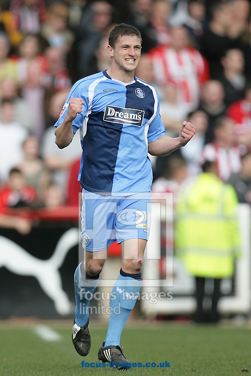 London - Saturday, March 14th, 2009: John Mousinho of Wycombe Wanderers celebrates scoring his side's first goal during the Coca Cola League Two match at Griffin Park, London. (Pic by Mark Chapman/Focus Images)