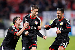 02.10.2013, BayArena, Leverkusen, GER, UEFA Champions League, Bayer 04 Leverkusen vs Real Sociedad San Sebastian, Gruppe A, im Bild Goal celebrations // after the 2:1 by Jens Hegeler #13 (Bayer 04 Leverkusen). Emre Can #10 (Bayer 04 Leverkusen) and Jens Hegeler #13 (Bayer 04 Leverkusen) (right to left). Aktion, Action // during the UEFA Champions League Group A match between Bayer 04 Leverkusen and Real Sociedad San Sebastian at the BayArena, Leverkusen, Germany on 2013/10/02, Germany. EXPA Pictures © 2013, PhotoCredit: EXPA/ Eibner/ Grimme<br /> <br /> ***** ATTENTION - OUT OF GER *****