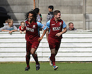 Picture by David Horn/Focus Images Ltd. 07545 970036.04/08/12.Daniel Braithwaite (left) of Chesham United celebrates with Chesham United goalscorer Chris Watters during a friendly match at The Meadow, Chesham.