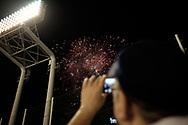 Fireworks over the Jingu Baseball Stadium in Tokyo during a game Tokyo Swallows VS Hiroshima Carp, Japan. 21/04/2017-Tokyo, JAPAN