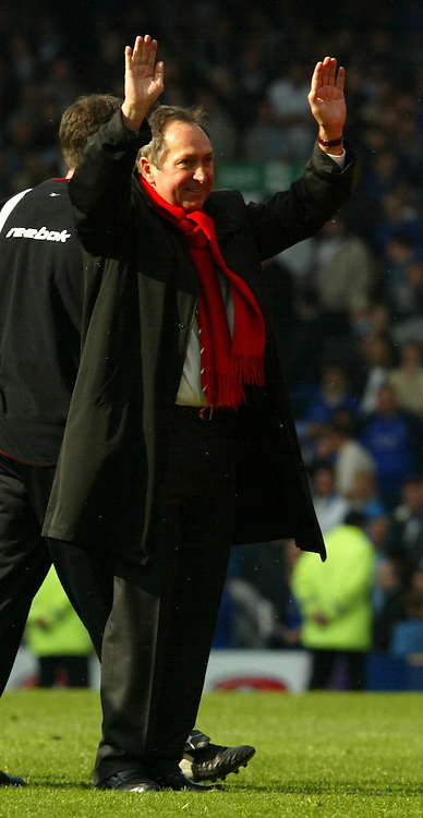 LIVERPOOL, ENGLAND - Saturday, April 19, 2003: Liverpool's manager Ge?rard Houllier celebrates a 2-1 victory over Everton in the Merseyside Derby Premiership match at Goodison Park. (Pic by David Rawcliffe/Propaganda)