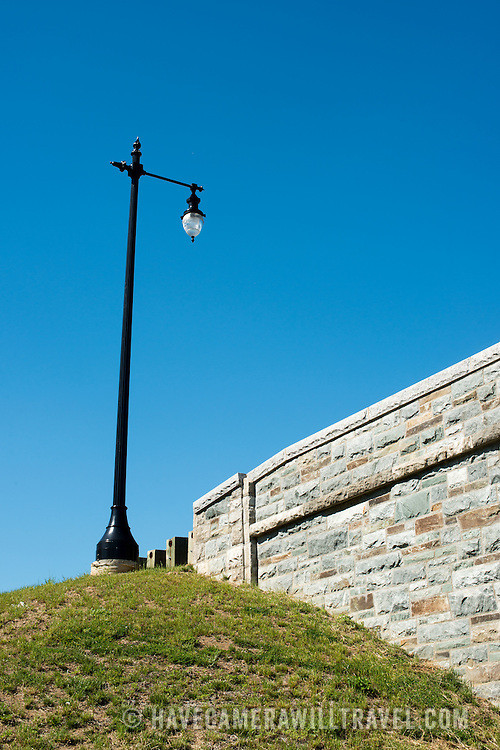A light pole and base of a new bridge along the George Washington Memorial Parkway connecting Columbia Island with the mainland.
