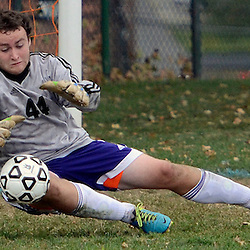 Upper Darby goalkeeper Jonathan Thornton (44) makes a diving save in the first half during the Radnor at Upper Darby boys soccer game in Upper Darby Tuesday September 9, 2014. (Times staff / TOM KELLY IV)