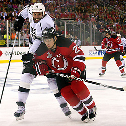 June 9, 2012: Los Angeles Kings left wing Dwight King (74) tries to get past New Jersey Devils defenseman Anton Volchenkov (28) during second period action in game 5 of the NHL Stanley Cup Final between the New Jersey Devils and the Los Angeles Kings at the Prudential Center in Newark, N.J.