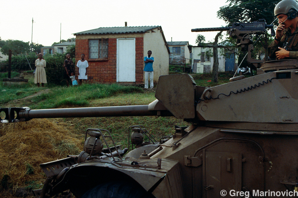 KwaMashu Township, KwaZulu Natal, South Africa. A SADF armoured vehicle on patrol in the turbulent township outside Durban